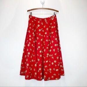 Free People Linen Blend Full Circle Midi Skirt
